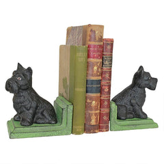 Sitting Scotty Dog Cast Iron Sculptural Bookend Pair