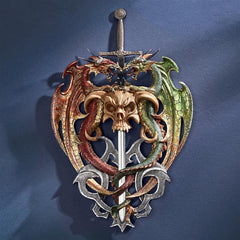 Hell-Bent Dragon Protectors of the Sword Wall Sculpture