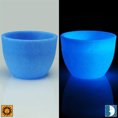 Glow in the Dark Planter Urn - Blue 15.5 inch Lido Flower Cachepot - Revolutionary Garden Decorations