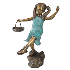 Brittany with a Basket, Little Girl Cast Bronze Garden Statue
