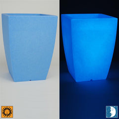 Glow in the Dark Planter Urn - Blue 14 inch Luna Flower Cachepot - Revolutionary Garden Decorations