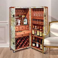 Italian-Style World Map Cocktail Bar Steamer Trunk