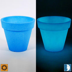 Glow in the Dark Planter Urn - Blue 14 inch Terme Flower Cachepot - Revolutionary Garden Decorations
