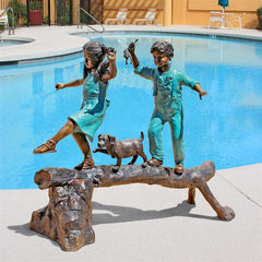 The Adventure, Boy and Girl on Log Cast Bronze Garden Statue