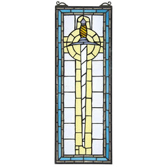 Legend of Arthur's Sword Tiffany-Style Stained Glass Window