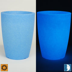Glow in the Dark Planter Urn - Blue 14 inch Cielo Flower Cachepot - Revolutionary Garden Decorations