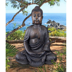 Buddha of the Grande Temple Garden Statue: Dark Stone, Large
