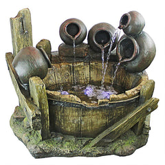 Urns and Barrel Cascading Waterfall Illuminated Garden Fountain