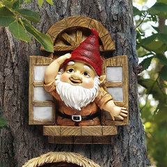 The Knothole Gnomes Garden Welcome Tree Sculpture: Window Gnome
