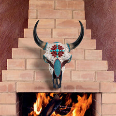 Mystic Plains Warrior Faux Gem Encrusted Cow Skull Wall Sculpture:Large