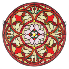 Baroque Floral Medallion Tiffany-Style Stained Glass Window