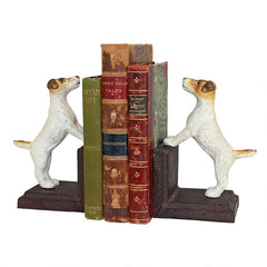 Jack Russell Terrier Dog Cast Iron Sculptural Dog Bookend Pair