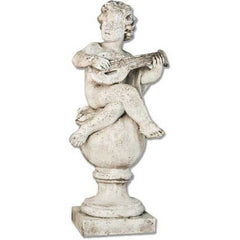 Cherub On Finial Mandolin 39 Garden Angel Statue