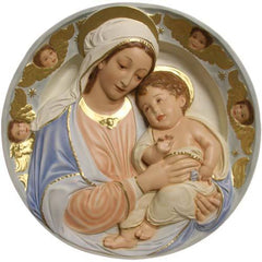 XoticBrands Madonna and Child Round Plaque Religious Sculpture