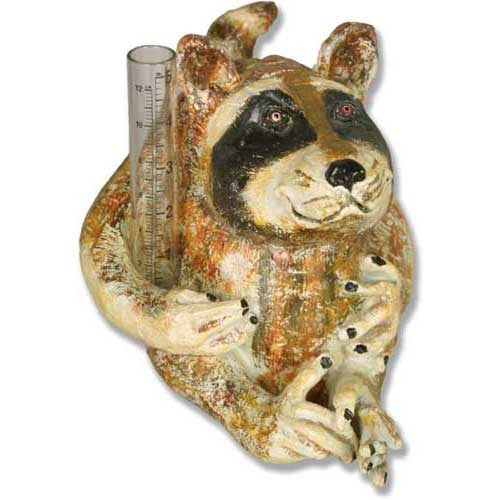 Pockets Raccoon Rain Gauge Garden Animal Statue