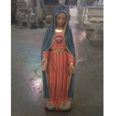Mary With Sword Animal Religious  Sculpture