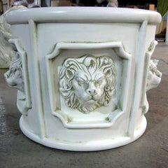 Five Lion Head Urn 11 (R) Animal Planters  Sculpture