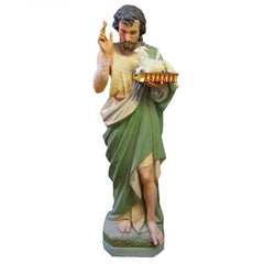 XoticBrands Saint John The Baptist w/ Sheep On Book Religious Sculpture