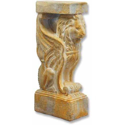 XoticBrands Winged Lion Console Base - Pedestal Sculpture