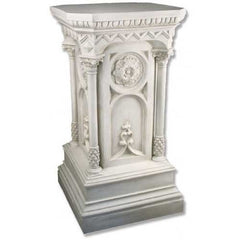 XoticBrands Columned Church Pedestal - Pedestal Sculpture