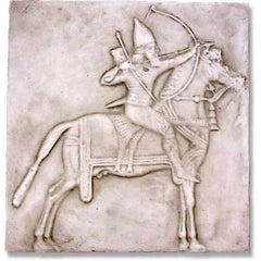 XoticBrands Assyrian Horseman Frieze Garden Animal Statue