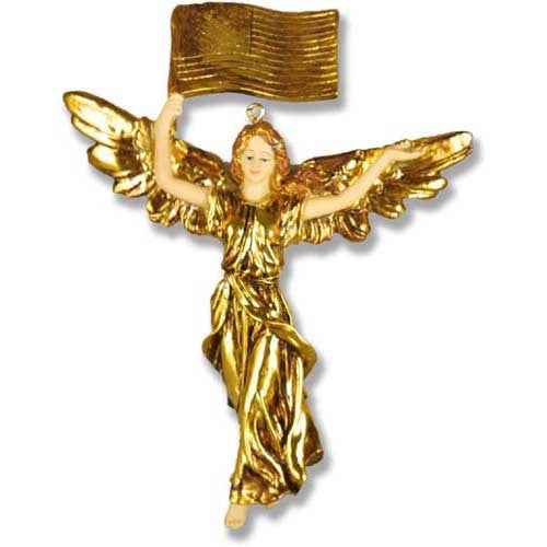 Patriotic Angel 7 High Gold Garden Angel Statue
