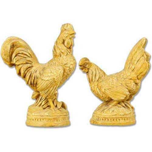 French Rooster Pair Garden Animal Statue