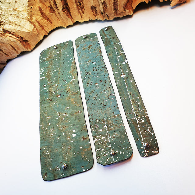 FABRIKK Interchangeable Cork Cuff Insert | Aqua Silver | Vegan 'Leather'