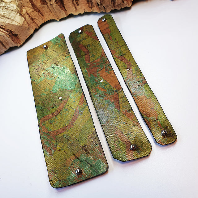 FABRIKK Interchangeable Cork Cuff Insert | Green Oil Slick | Vegan 'Leather'