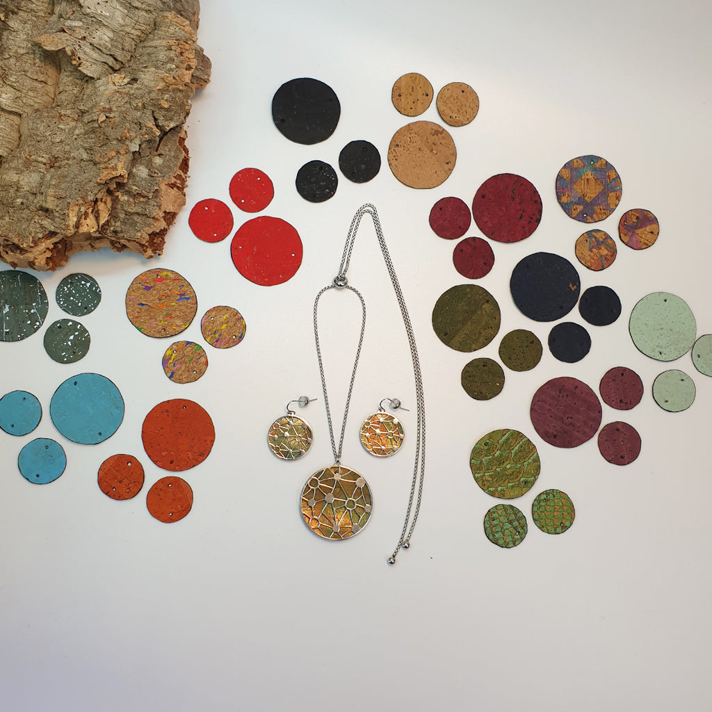 Fabrikk Cosmic Interchangeable Set | Earrings & Pendant + 14 Cork Colours | Vegan Leather