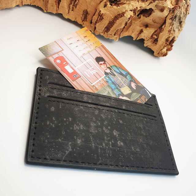 Eco Cork Card Slip | Coal Black | Vegan Leather
