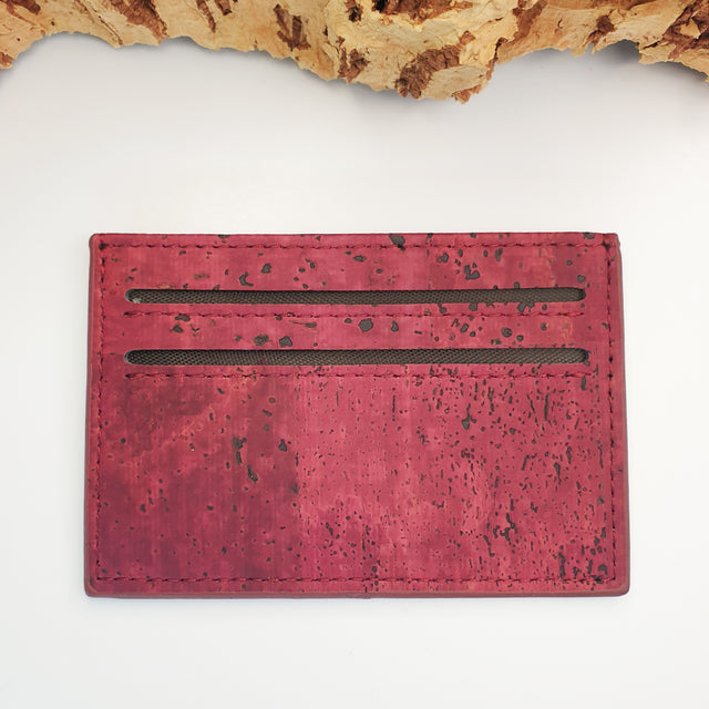 Eco Cork Card Slip | Burgundy Love | Vegan Leather