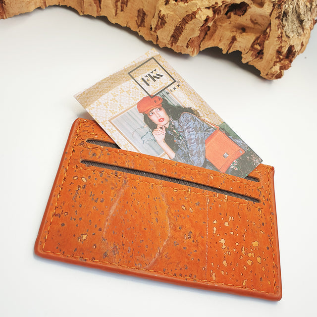 Eco Cork Card Slip | Orange | Vegan Leather