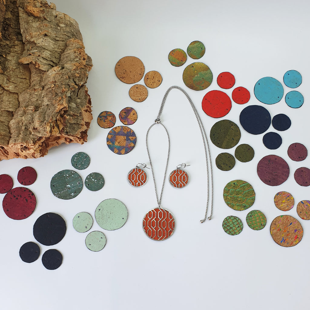 Fabrikk Linear Interchangeable Set | Earrings & Pendant + 14 Cork Colours | Vegan Leather