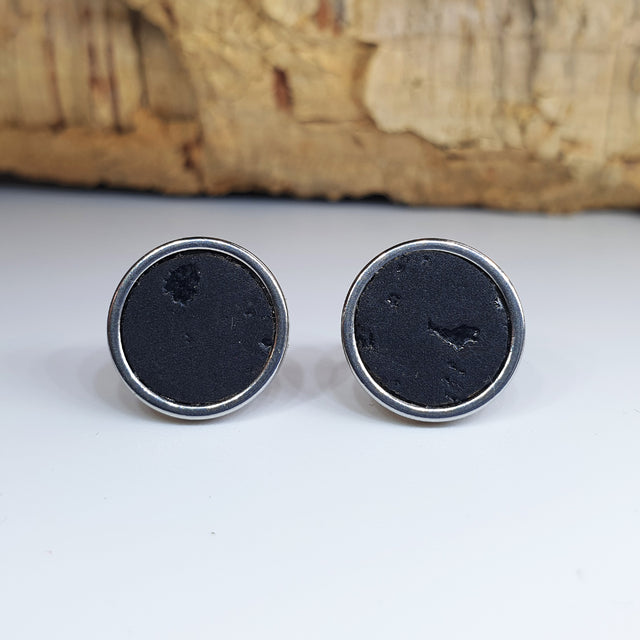 Fabrikk Cork Stud Earrings | Large | Coal Black | Vegan Leather