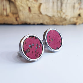 Fabrikk Cork Stud Earrings | Large | Burgundy Love | Vegan Leather