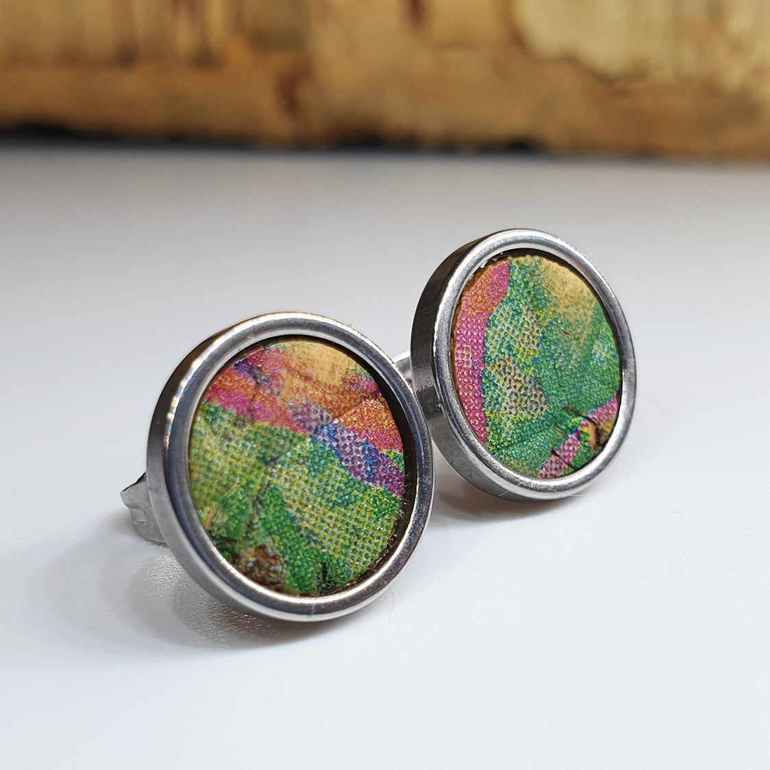 Fabrikk Cork Stud Earrings | Large | Cosmic Splash Green | Vegan Leather