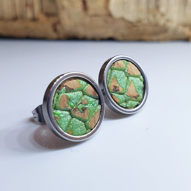 Fabrikk Cork Stud Earrings | Large | Green Python Skin | Vegan Leather