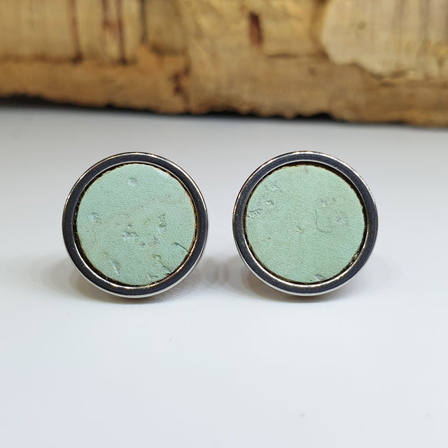 Fabrikk Cork Stud Earrings | Large | Mint Green | Vegan Leather