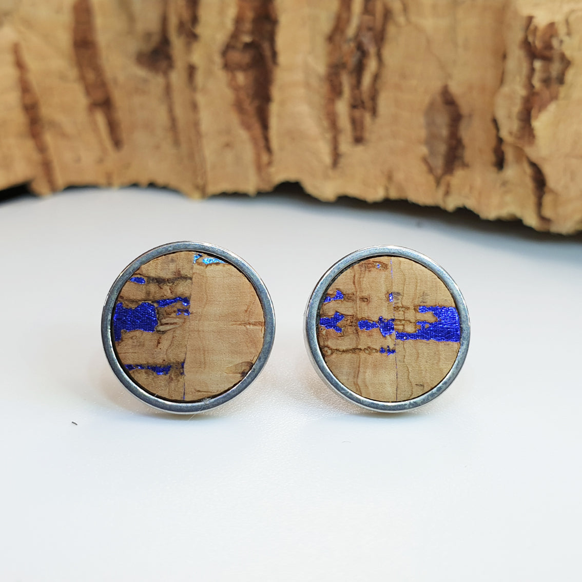 Fabrikk Cork Stud Earrings | Giant | Natural Metallic Fleck | Vegan Leather