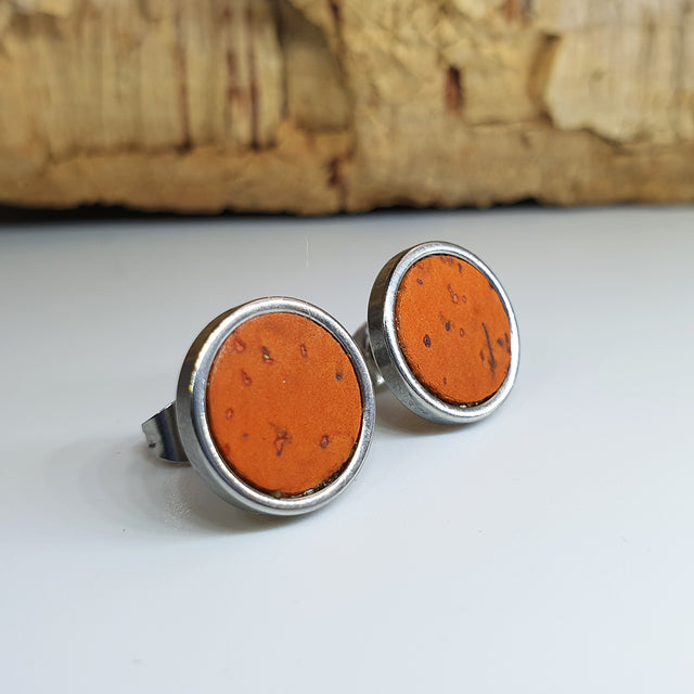 Fabrikk Cork Stud Earrings | Large | Orange | Vegan Leather