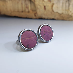 Fabrikk Cork Stud Earrings | Large | Purple Music | Vegan Leather