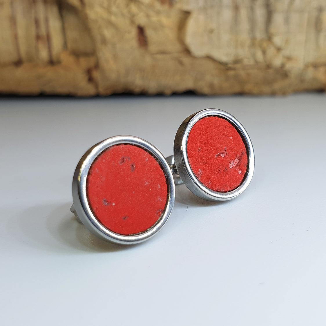 Fabrikk Cork Stud Earrings | Large | Red | Vegan Leather