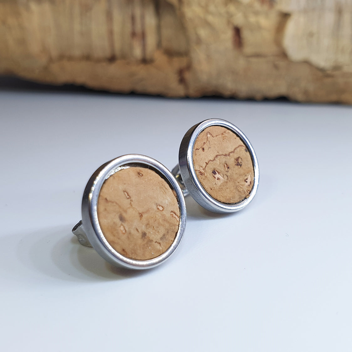 Fabrikk Cork Stud Earrings | Large | Natural Bark | Vegan Leather