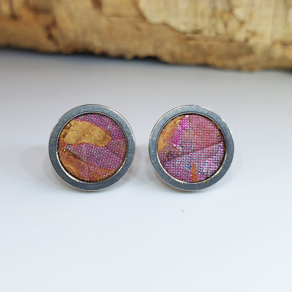 Fabrikk Cork Stud Earrings | Medium | Cosmic Splash - Pink 'n' Purple | Vegan Leather