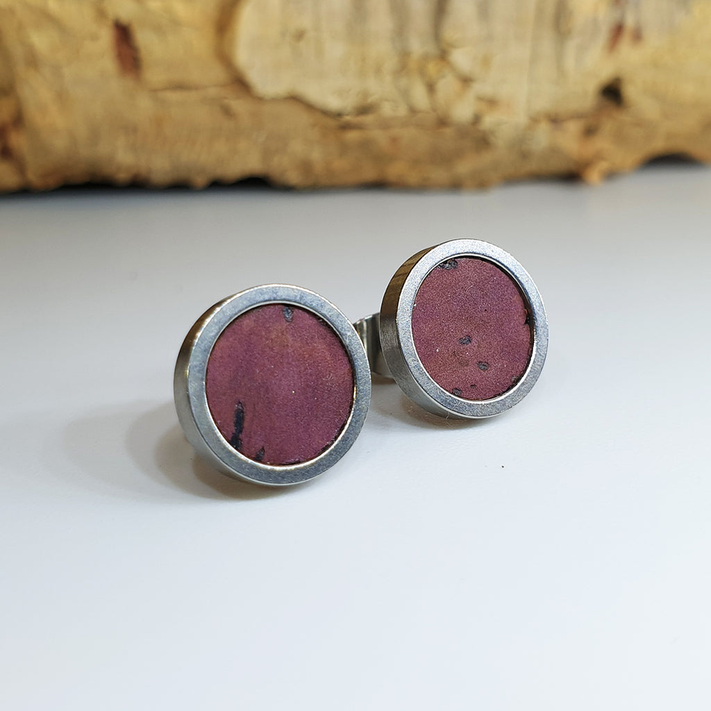 Fabrikk Cork Stud Earrings | Medium | purple Music | Vegan Leather