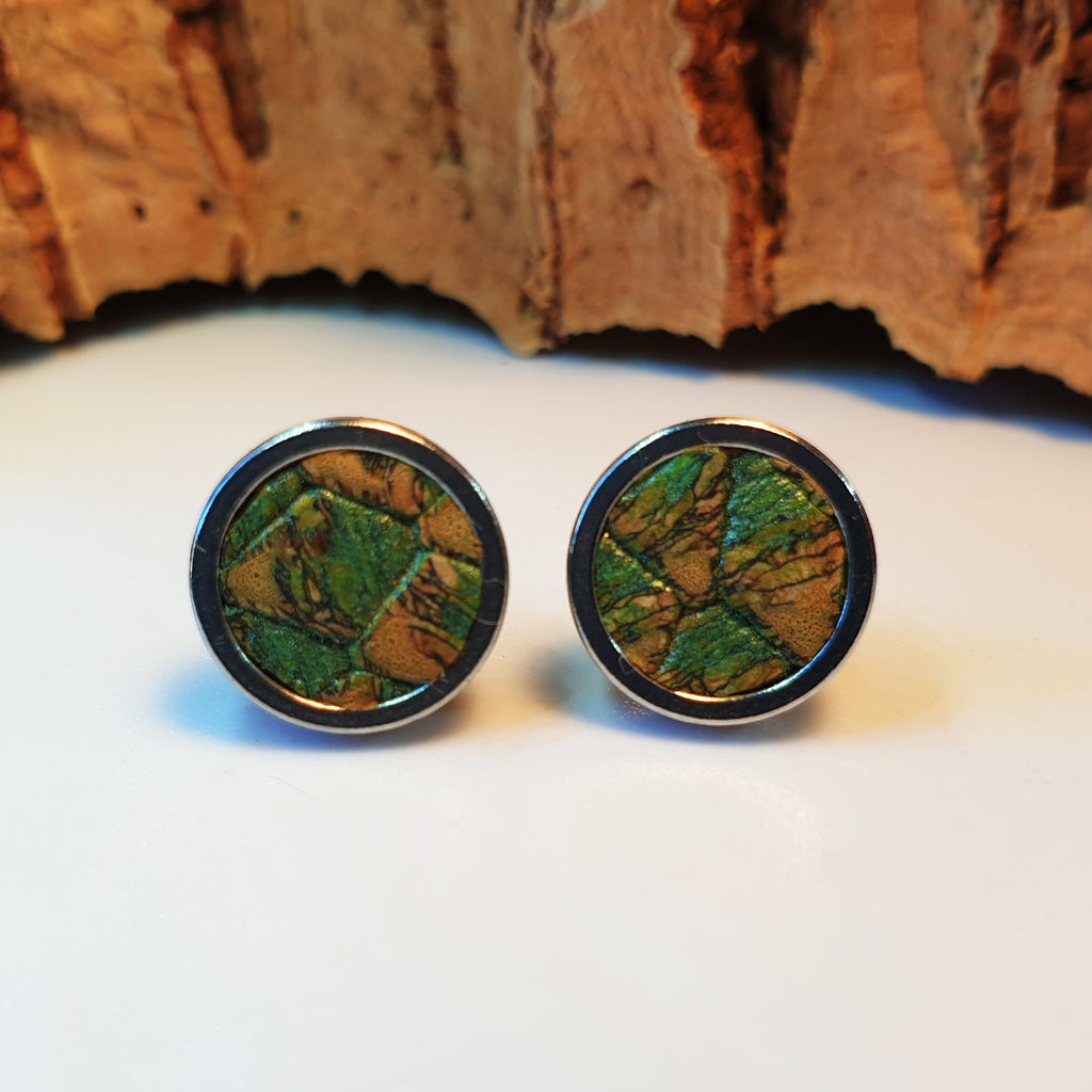 Fabrikk Cork Stud Earrings | Medium | Green Python Skin | Vegan Leather