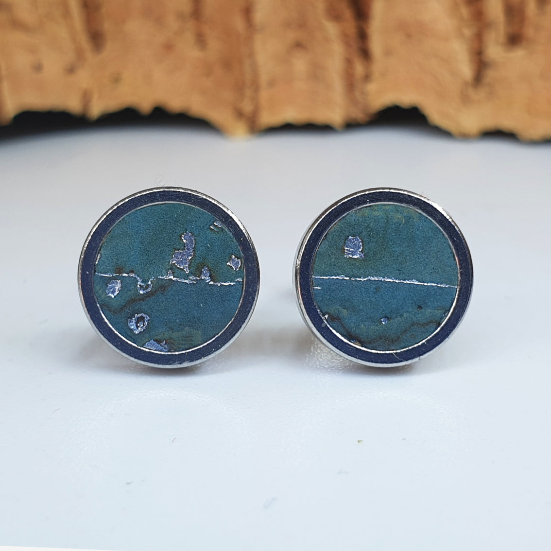Fabrikk Cork Stud Earrings | Medium | Aqua Silver | Vegan Leather