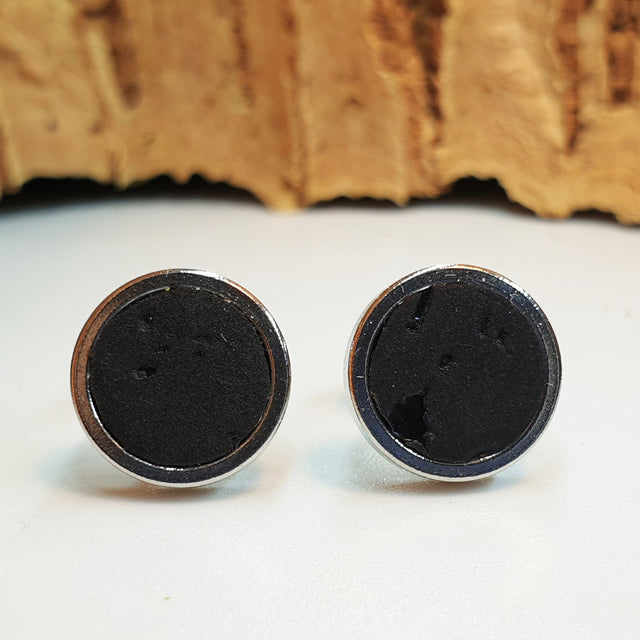 Fabrikk Cork Stud Earrings | Medium | Coal Black | Vegan Leather
