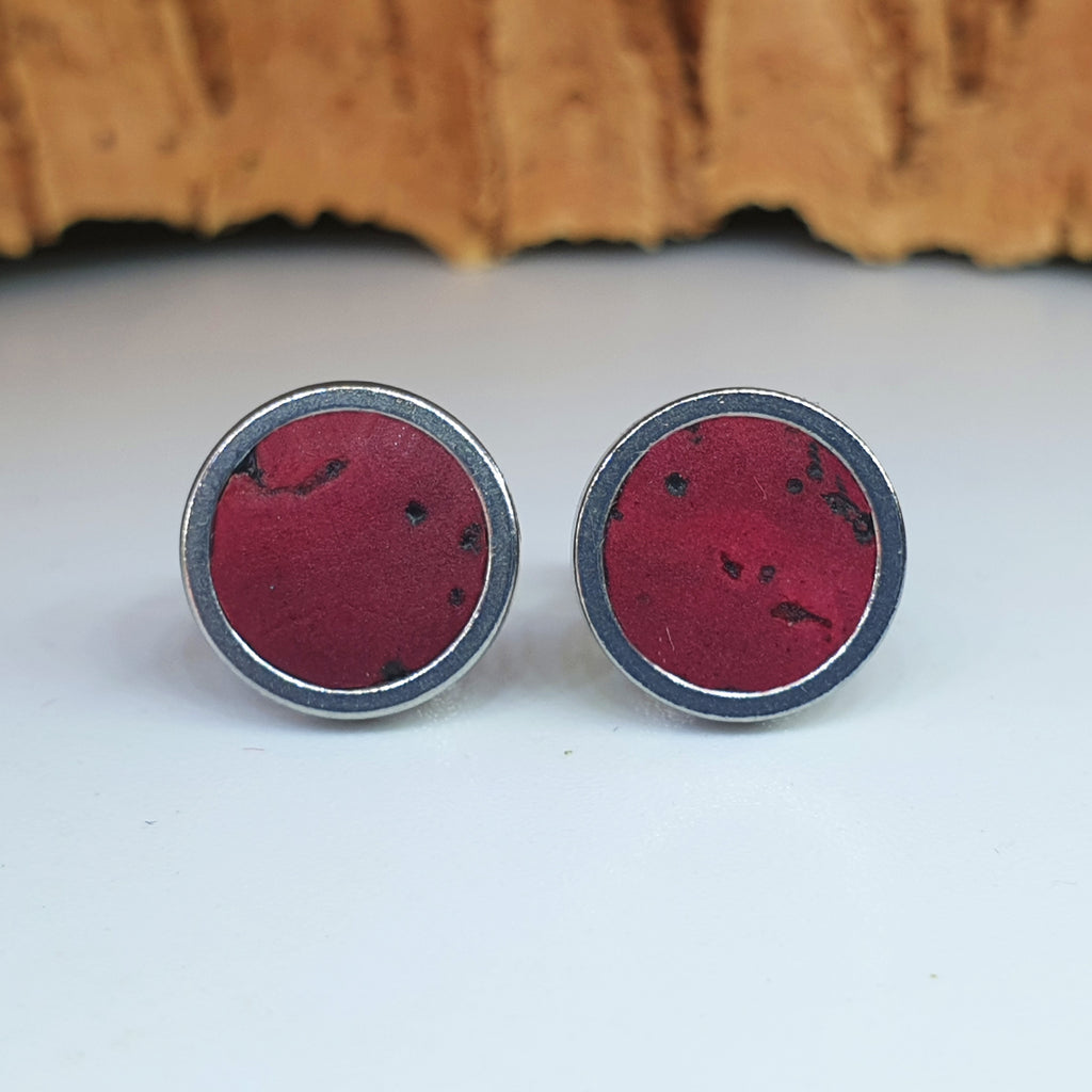 Fabrikk Cork Stud Earrings | Medium | Burgundy Love | Vegan Leather